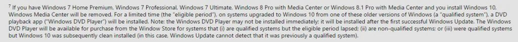 Screenshot from Microsoft website regarding Windows 10 upgrade