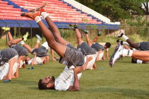 Bengaluru FC's CK Vineeth in training at the Bangalore Football Stadium