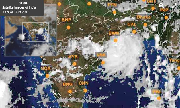weather report of west bengal from satellite